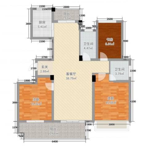 锦绣江南3室2厅2卫1厨103.11㎡户型图