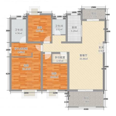 山海天3室2厅2卫1厨127.00㎡户型图