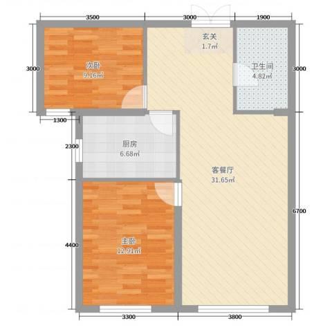 维多利大商城2室2厅1卫1厨91.00㎡户型图