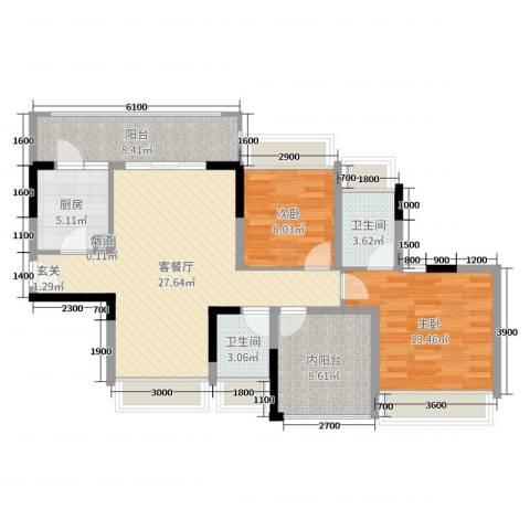 佳兆业东江豪门2室2厅2卫1厨97.00㎡户型图