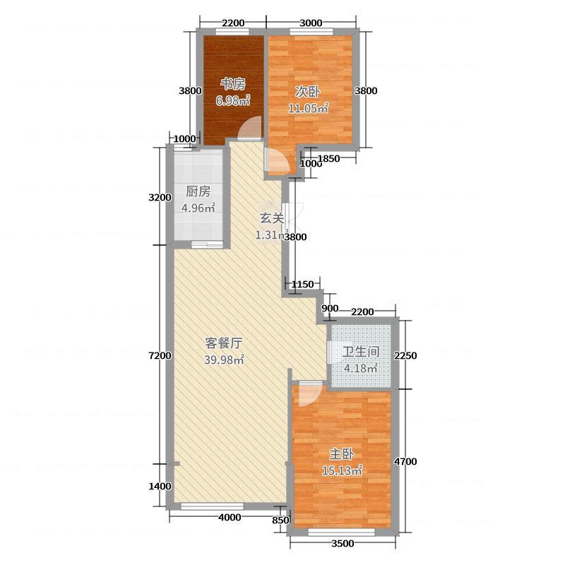 维多利大商城114.90㎡2#A1户型3室3厅1卫1厨