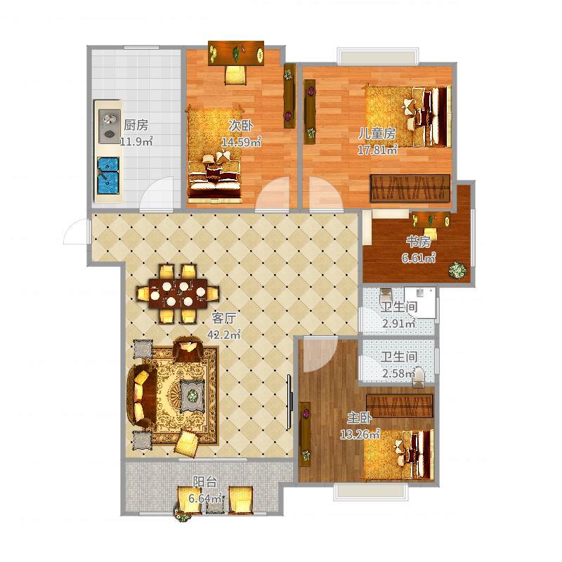 华安·御璟园A1户型三室两厅