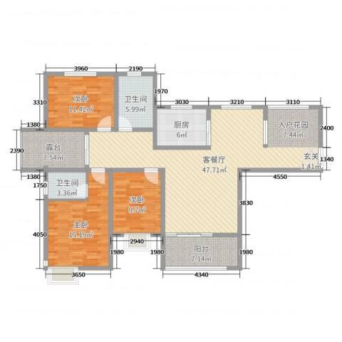 锦江・城市花园二期3室2厅2卫1厨143.00㎡户型图