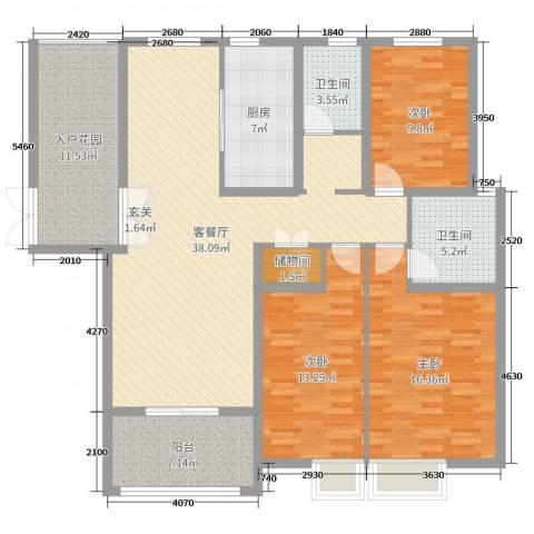 锦江・城市花园二期3室2厅2卫1厨142.00㎡户型图
