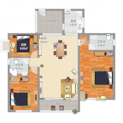 博筑正阳花园3室2厅2卫1厨160.00㎡户型图