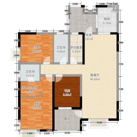 山海天3室2厅2卫1厨143.00㎡户型图