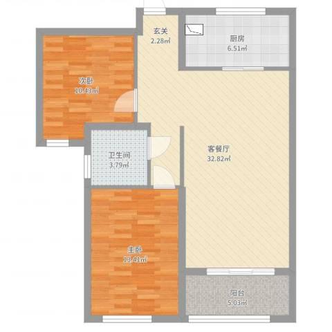 万行中心2室2厅1卫1厨72.00㎡户型图