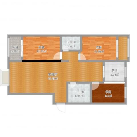 国海公寓3室2厅2卫1厨121.00㎡户型图
