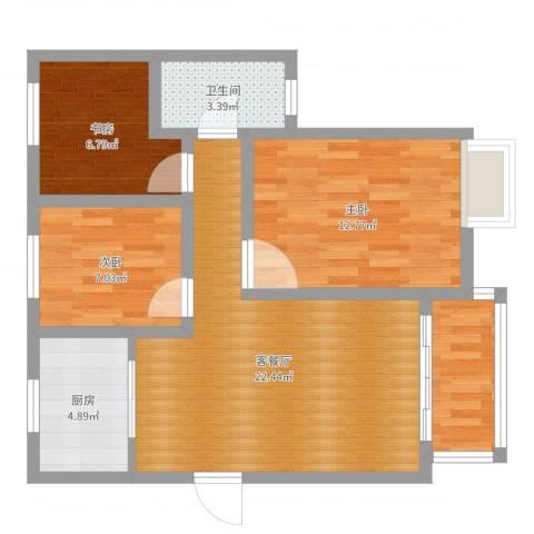 红房子三房3室2厅1卫1厨77.00㎡户型图