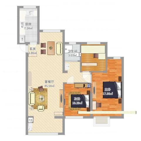 奥克斯盛世缔壹城2室2厅1卫1厨113.00㎡户型图