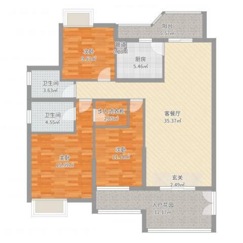 明丰东江府3室2厅2卫1厨133.00㎡户型图