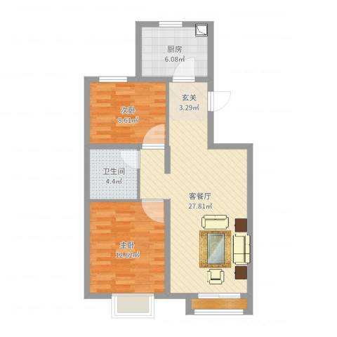渤海豪庭2室2厅1卫1厨76.00㎡户型图