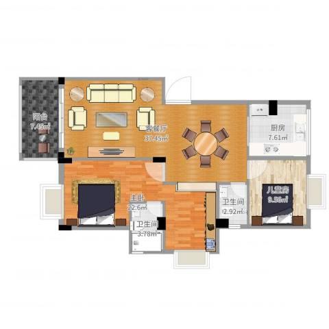 恒丰花园2室2厅2卫1厨114.00㎡户型图