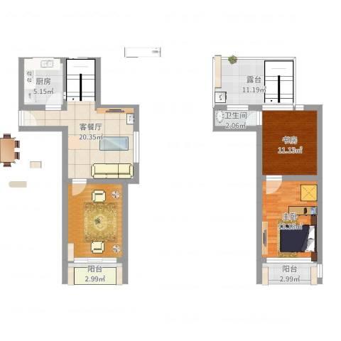 丽景新苑2室2厅1卫1厨102.00㎡户型图