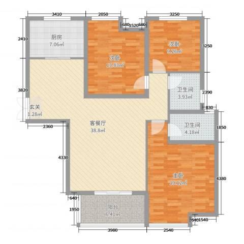 锦江・城市花园二期3室2厅2卫1厨128.00㎡户型图
