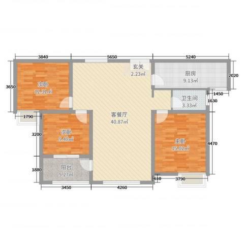 锦江・城市花园二期3室2厅1卫1厨119.00㎡户型图