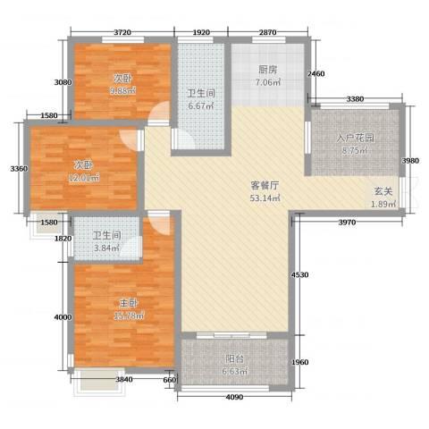 锦江・城市花园二期3室2厅2卫0厨135.00㎡户型图