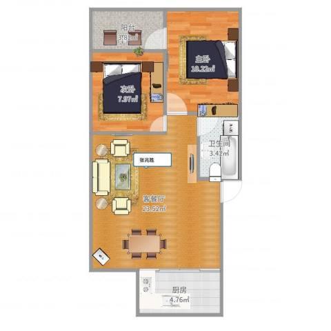 环东佳苑2室2厅1卫1厨67.00㎡户型图