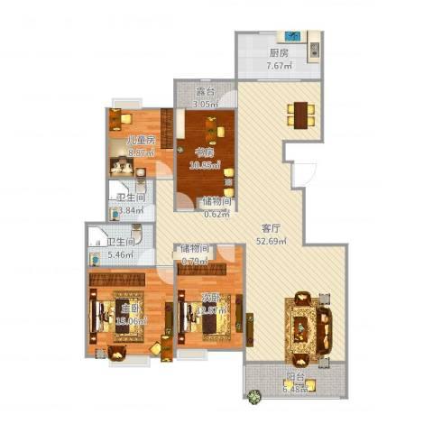 竹园阳光嘉苑4室1厅2卫1厨160.00㎡户型图