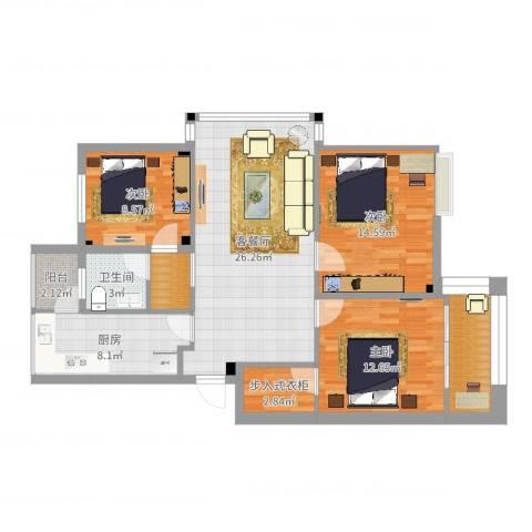 兰亭绿源3室2厅1卫1厨106.00㎡户型图