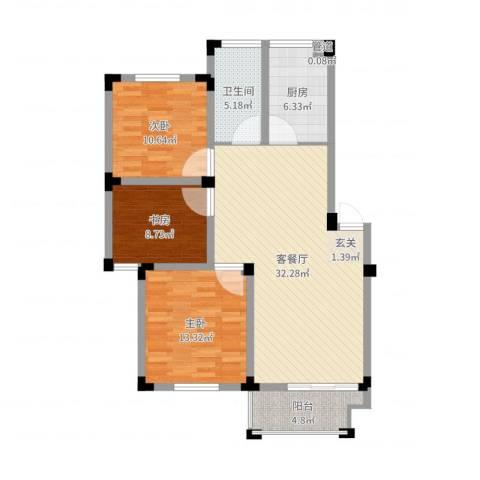 安天国际城3室2厅1卫1厨102.00㎡户型图