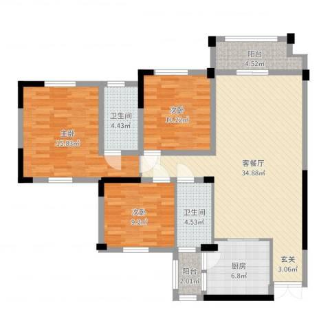 金桥港湾花园3室2厅2卫1厨116.00㎡户型图
