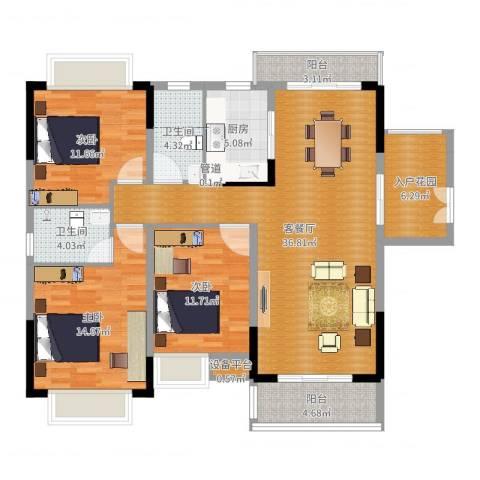 美丽湾畔花园3室2厅2卫1厨129.00㎡户型图