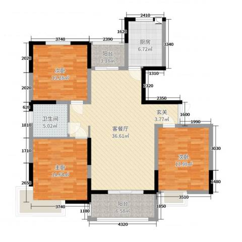 浦发・领秀城3室2厅1卫1厨125.00㎡户型图