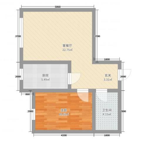 博达雅居1室2厅1卫1厨60.00㎡户型图