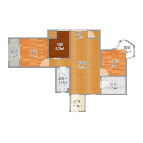 典雅花园2室2厅1卫1厨76.00㎡户型图