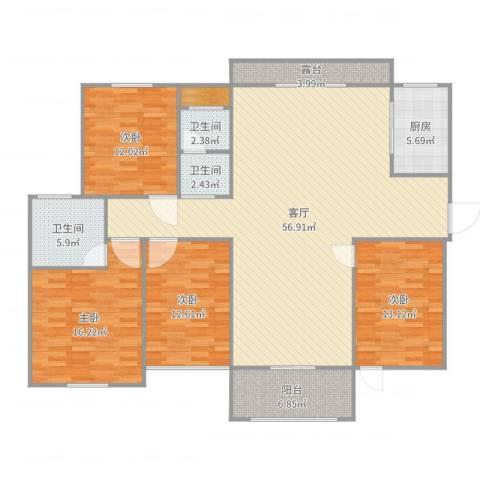 南阳建业森林半岛4室1厅3卫1厨174.00㎡户型图