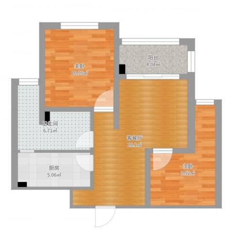 瑞和城2室2厅1卫1厨67.00㎡户型图