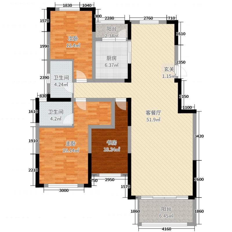 新奇世界・济南鹊山146.77㎡洋房1-5#楼B-1\'户型3室3厅2卫1厨