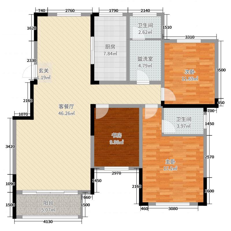 新奇世界・济南鹊山136.54㎡洋房1-5#楼C-2户型3室3厅2卫1厨