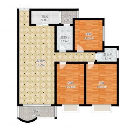 书香门第3室2厅2卫1厨158.00㎡户型图