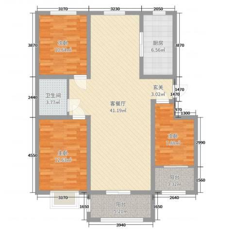 洪永・紫荆花园西区3室2厅1卫1厨114.00㎡户型图