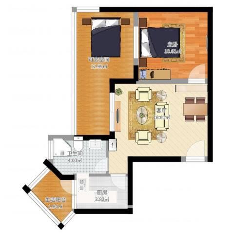 楠香山1室1厅1卫1厨74.00㎡户型图