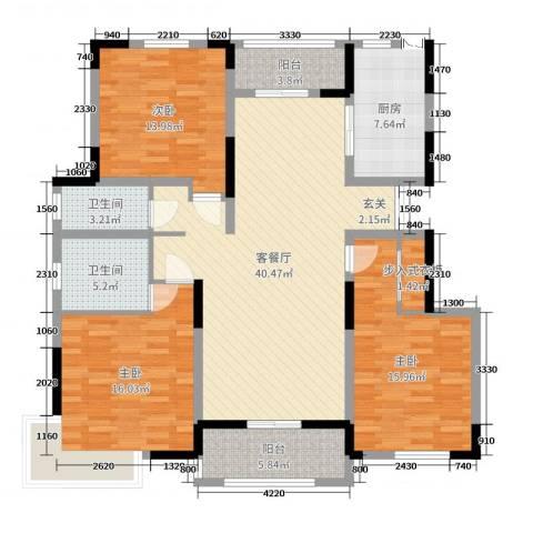 浦发・领秀城3室2厅2卫1厨142.00㎡户型图