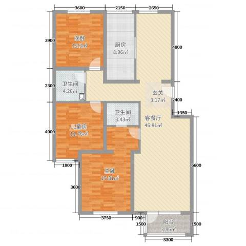 梨花江苑3室2厅2卫1厨135.00㎡户型图