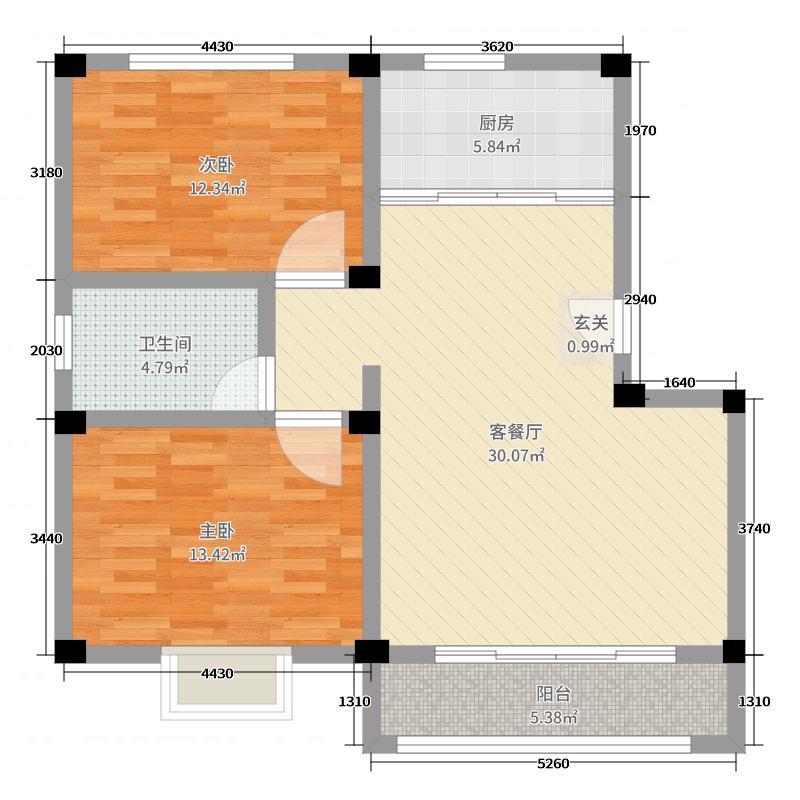 盛世康城四期鑫园91.00㎡户型2室2厅1卫1厨