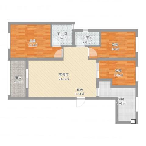 旭辉香樟公馆3室2厅2卫1厨88.00㎡户型图