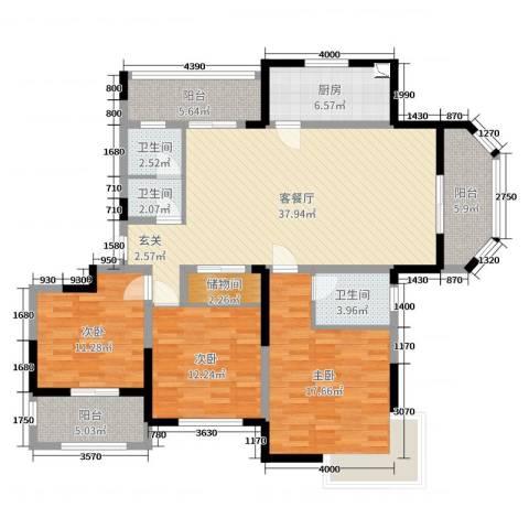 浦发・领秀城3室2厅3卫1厨142.00㎡户型图