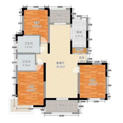 浦发・领秀城3室2厅2卫1厨131.00㎡户型图