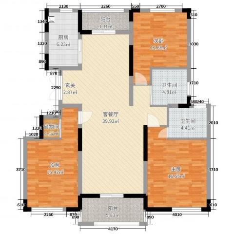 浦发・领秀城3室2厅2卫1厨138.00㎡户型图