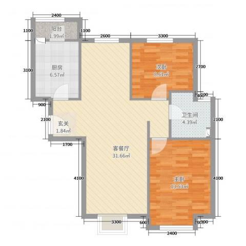 桃源山庄2室2厅1卫1厨66.76㎡户型图