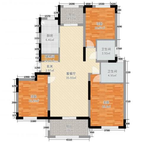 浦发・领秀城3室2厅2卫1厨129.00㎡户型图