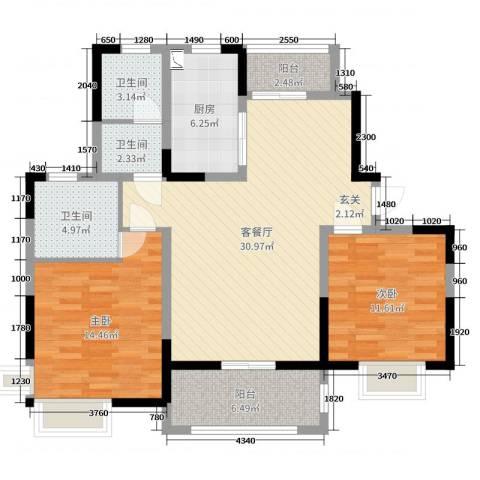 浦发・领秀城2室2厅3卫1厨104.00㎡户型图