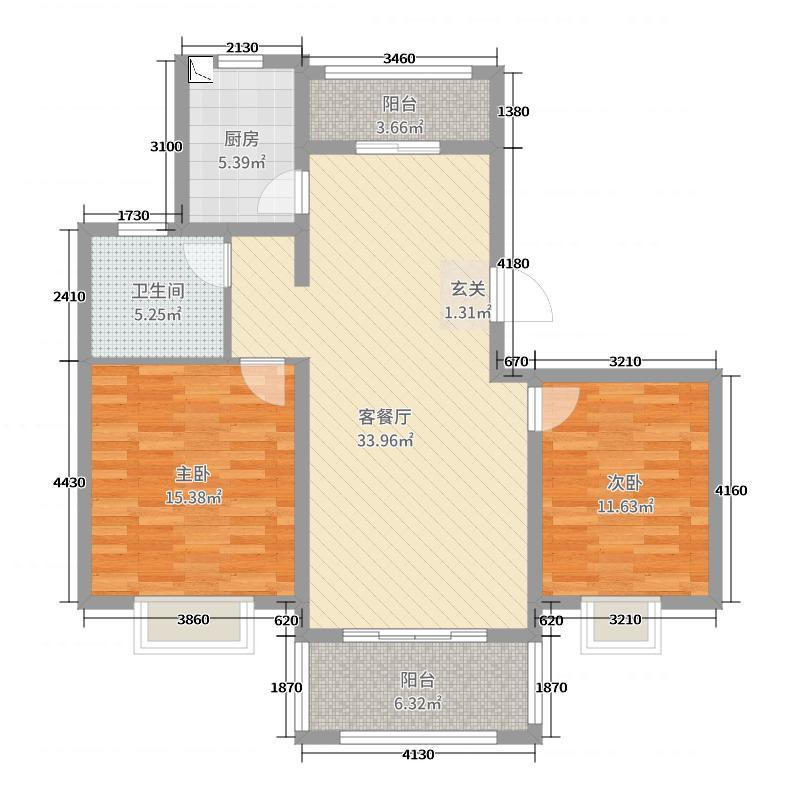 绿地泊林公馆102.00㎡A户型2室2厅1卫1厨