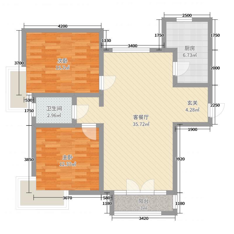 华贸蔚蓝海岸98.71㎡3#4#5#洋房F户型2室2厅1卫