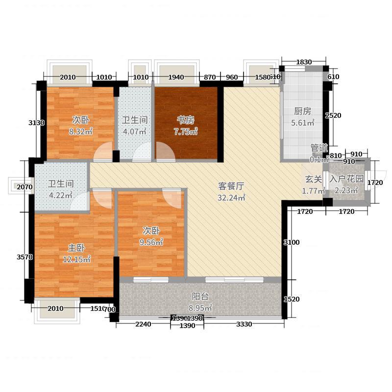 中铁城119.00㎡四期E1户型4室4厅2卫1厨